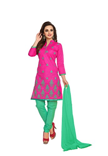 OOMPH! Women Cotton Unstitched Dress Material (rbad_kes008_Pink_Free Size)