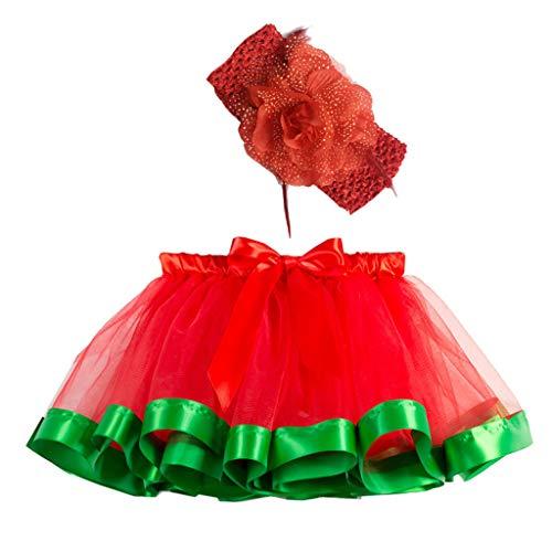 Bauycy Kinder Rock Regenbogen Tutu Rock Rock Pettiskirt + Haarband Zweiteiliger Anzug Baby MäDchen Prinzessin Kleid Performance Kleidung -