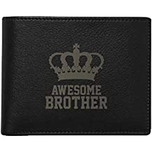 YaYa cafe Rakhi Gifts for Brother, Engraved Men's Leather Wallet Awesome Brother with Engraved Wooden Rakhi for Brother President Black