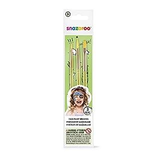 Snazaroo 1192505 Gemischt Pinselset, 3 Schminkpinsel in fein, rund und flach, grün