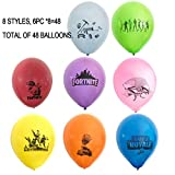 Hizoop 48 PCS FORTNITE 30 CM Globos de látex, Fortnite Kids Favorite Gaming Party Decoration Supplies, 8 Colores y 8 diseños