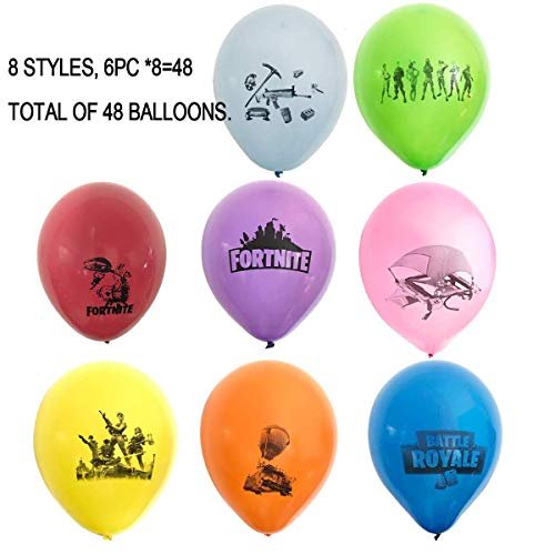Hizoop 48 PCS 12 Inch Latex Balloons for FORTNITE Game,Kids Favorite Gaming Party Decoration Supplies,8 Colors With 8 Designs