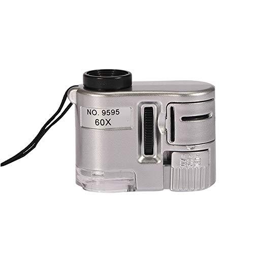 Feeyond Mini Objektiv 60X Taschenlupe Mikroskop Mit LED-Licht Schmuck Juwelier Lupe Währung Detektor