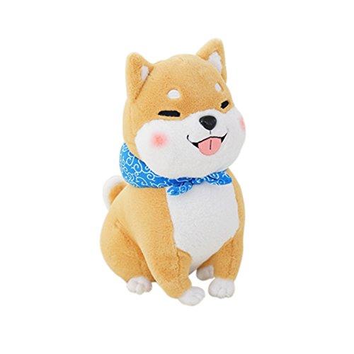 YINGGG Kuscheltier Shiba Inu Hund Plüschtier Stofftier Geschenk,Grau (45cm braun Augen geschlossen) (Vorteil Tröster)