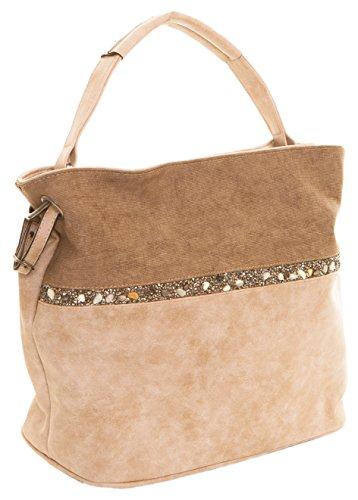 CAPRIUM Hobo Bag, Handtasche mit Quer verlaufendem Steine, Schultertasche, Damen 000F5929 Taupe