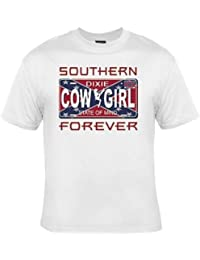 PATOUTATIS - t-shirt femme COUNTRY Cowgirl Southern forever sudiste - réf 13845 - blanc
