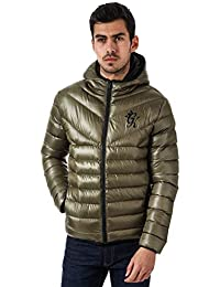 Gym King Mens Reign Hooded Puffa Jacket in Olive - Quilted Puffa 79516f213f18