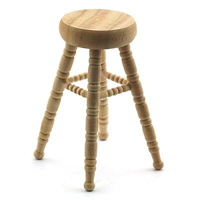 MyTinyWorld Dolls House Miniature White Wood Pine Bar Stool - inexpensive UK bar stool store.