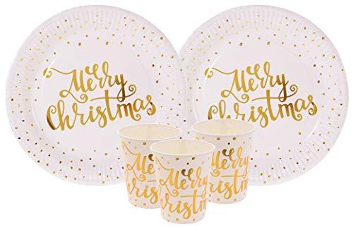 Vaisselle Jetable Or.Vaisselle Jetable Carton.Vaisselle Jetable de Noël de 48 pièces de Noël. Assiettes Or et Verres avec Le Texte Mery Christmas en Doré avec Petits Pois .Vaisselle Doré