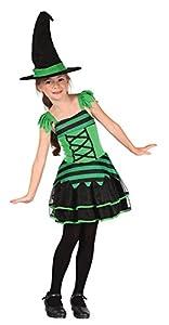 Bristol Novelty CC499 Vestido de Bruja, Verde/Negro, Mediano , Edad aprox 5-7 años
