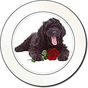 Labradoodle Hund mit roten Rose AutovignetteGenehmigungsinhaber Geschenk