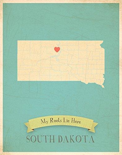 Kinder inspirieren Design Personalisierte, meine Wurzeln South Dakota Map Kunstdruck, 27,9x 35,6cm blau
