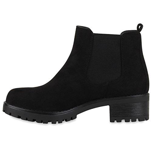 Stiefelparadies Damen Chelsea Boots Plateau Stiefeletten Profilsohle Schuhe Velours Metallic Booties Knöchelhohe Stiefel Blockabsatz Plateauschuhe Flandell Schwarz Velour