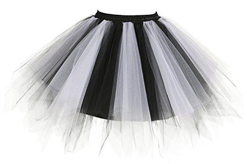 Poplarboy Damen Kurz 50er Vintage Petticoat Mehrfarbengroß Unterröcke Braut Crinoline Ballett Tutu Ball Underskirt Schwarz-Weiße