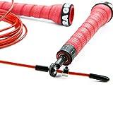 Nu|Box PR-1 Springseil | Ultraleichte Antirutsch-Griffe, Hochleistungskugellager, 2,5 mm Speed Rope | Inkl. Transporttasche, Ersatz-Seil etc. | Farbe: Rot