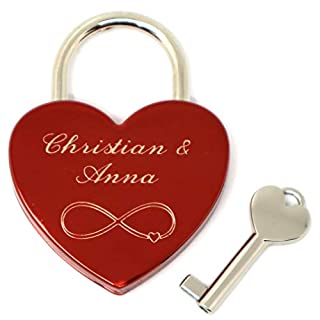 Red Love Padlock Heart Shape Infinity with Personal Engraving on Front and Back Key Heart Lock