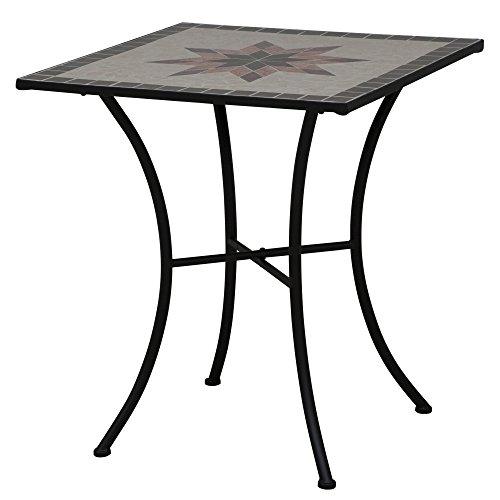 Siena Garden 875352 Tisch Stella, Gestell schwarz, Tischplatte in Mosaik-Optik, eckig, 64 x 64 x 71 cm