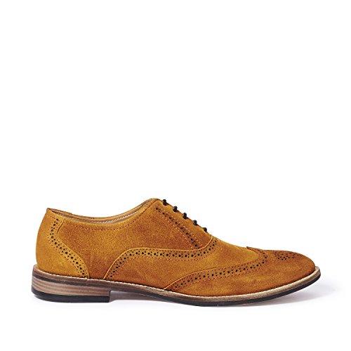 Symbol Men's Tan Leather suede Brogue Shoes- 6 UK/India (40 EU)(AZ-KY-99B)