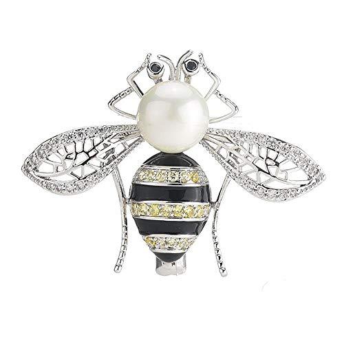 Circlefly Micro-Intarsien Zirkonia Biene Perle Brosche Damen Hochzeitskleid Mantel Jacke Pullover...
