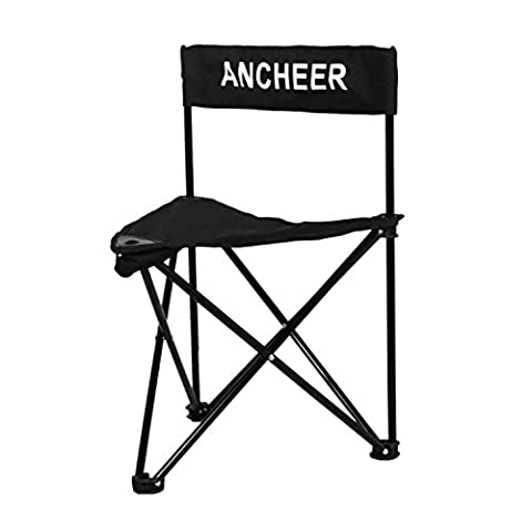 Ancheer Lightweight Portable Folding Tripod Chair Seat with Backrest, Slacker Quik-E-Seat, Black/Blue