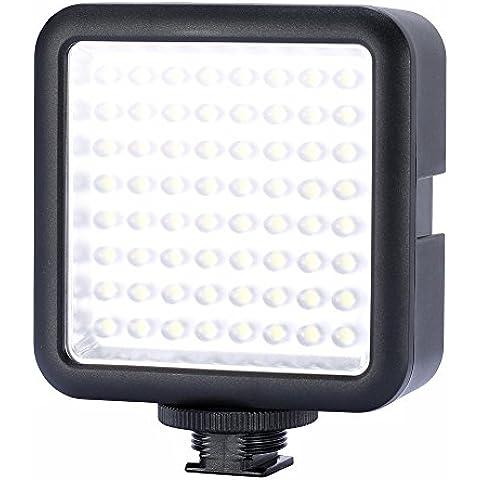 Neewer ®LED64 5500K-6500K Panel de Luz de 64 LED Regulable con Diseño Interlocking Universal para Cámara Digital DSLR o Videocámara Canon, Nikon, Pentax, Panasonic, Sony