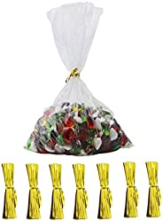 Newbested 200Pack 10 in x 7 in,Clear Flat Treat Bags Clear Cello Bags for Bakery, Cookies, Candies,Dessert wit
