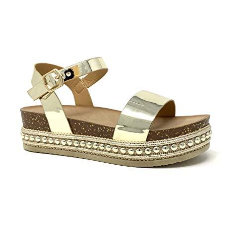 Angkorly - Damen Schuhe Sandalen Mule - Folk/Ethnisch - Böhmen - Plateauschuhe - Nieten-Besetzt - Kork - metallisch Keilabsatz high Heel 5 cm - Gold 3 1059 T 41 Mule Sandale