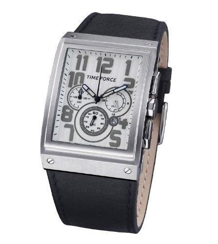 Time Force - TF3128M02 - Montre Homme - Quartz Analogique - Cadran Blanc - Bracelet en Caoutchouc Noir