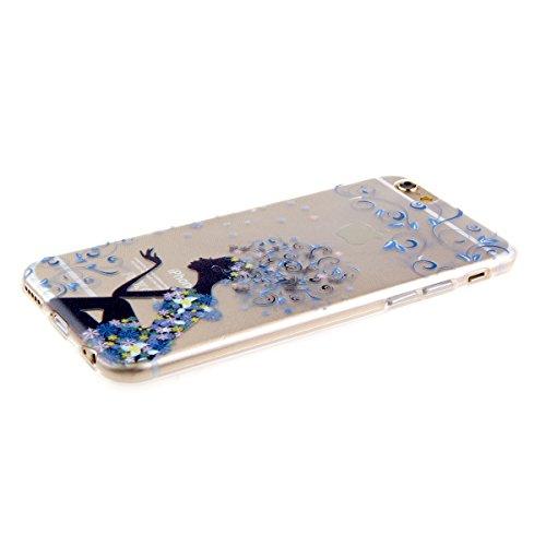 Custodia per iphone 6 Plus, Morbido Copertura per iphone 6 5.5, iphone 6 Plus Caso Ultra Slim, iphone 6/6S Plus morbido Case Cover, Ukayfe Stampa Moda Biker Girl TPU del gel di gomma pelle protettiva blu elfo