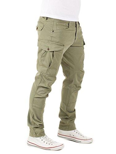 Yazubi Herren Chino Cargo Hose Jayden - Vintage Männer Cargohose - Regular Fit Grün (Dusty Olive 0515R)