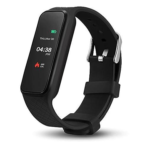 Fitnessuhr Fitness Tracker Herzfrequenz Sport Fitness Armband Bluetooth 4.0 IP67 Wasserdichter Fitness Tracker mit Plusmesser Herzfrequenz Monitor Schrittzähler Kalorienverbrauch Schlafüberwachung Pulsmesser Nachrichten-Push 1,06 Inch Farbdisplay Smart Watch für Android und iOS System, Schwarz