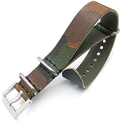 24mm Woodland Camouflage Leather ZULU Watch Strap, Sandblasted Buckle, MiLTAT Grezzo