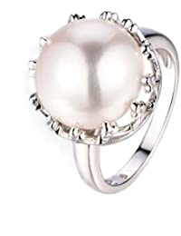 Royally Royal Pearl Ring In 925 Silver, Ring Size 12- By Ornate Jewels