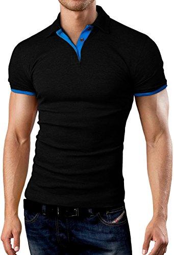 Grin&Bear Slim Fit kontrast Polohemd Poloshirt Polo, Schwarz-Blau, S, GB160
