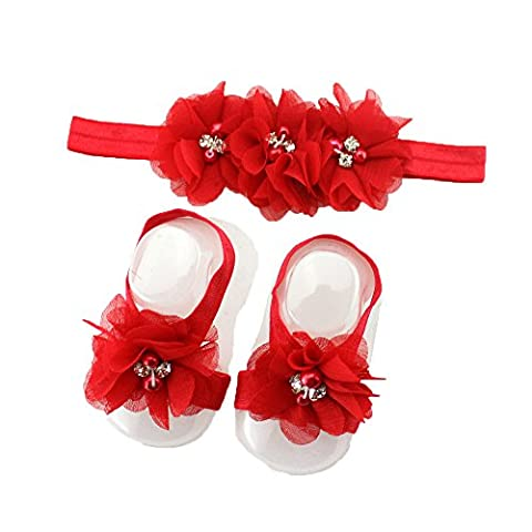 rhinestone pearl barefoot sandal shoes elastic flower headband for baby girls kids toddler infant clothing accessories