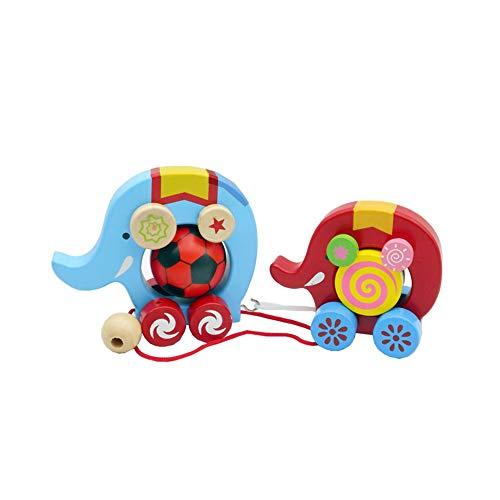 Beito 1Set Holz Nachzieh-Spielzeug-Elefant, Spielzeug Holz Tier Walker Spielzeug pädagogisches Spielzeug für Kinder Geburtstags-Geschenk-Multicolor