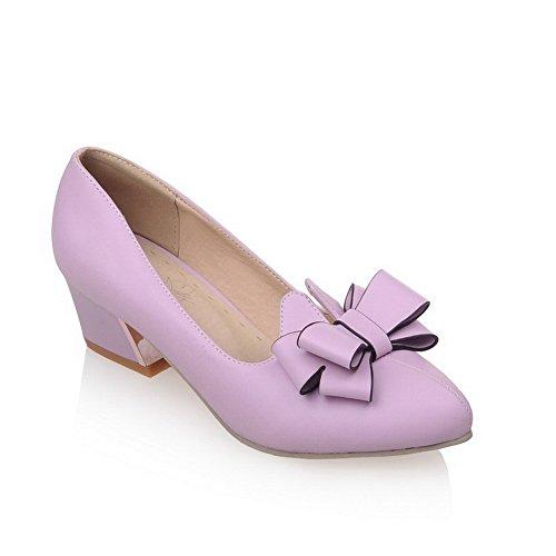 VogueZone009 Femme Matière Souple Fermeture D'Orteil Pointu à Talon Correct Tire Chaussures Légeres Violet