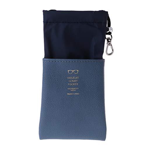 YoungerY Sonnenbrillen Tasche weiche staubdichte tragbare Kordelzug Hummer Schnalle kann Aufbewahrungstasche hängen - blau grau