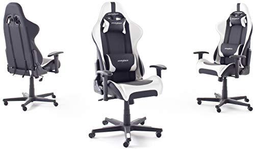 DX Racer6 Gaming Stuhl, Schreibtischstuhl, Bürostuhl, Chefsessel mit Armlehnen, Gaming chair, Gestell Kunststoff, 78 x 52 x 124-134 cm, Kunstleder PU schwarz / weiß - 2