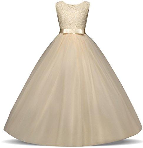 AGOGO Mädchen Kinder Kleider Festlich Brautjungfern Kleid Prinzessin Hochzeit Party Maxi Kleid Spitze Spleiß Chiffon Festzug Gr. 116 128 140 152 164 170 (164, Champagner)
