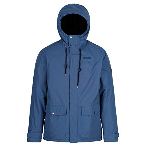 Regatta Herren Syrus Waterproof Insulated Hooded Jacke, Dunkles Jeansblau, Large