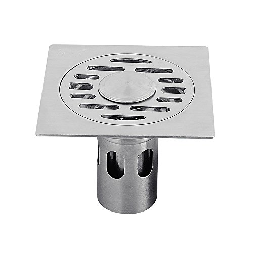 Zhi Jin - Griglia di scarico quadrata a pavimento, in acciaio inox con rivestimento sfoderabile e nichel spazzolato, per cucina e bagno Dual-use Deepwater
