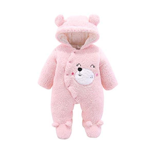 Bebé Mono Invierno Mameluco Vellón Body Recién nacido Peleles Traje de Nieve Pijamas Espesar Traje de Dormir, 0-3 Meses 1