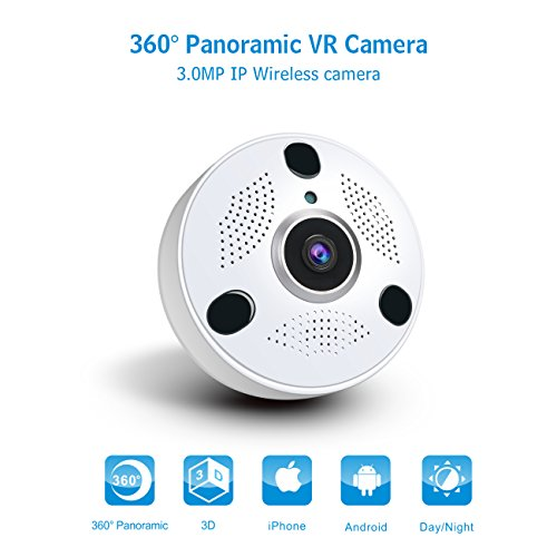 Anni Home 3,0 MP WiFi Security Camera System 360 laurea indoor wireless telecamera IP, HD Fish Eye lente ampio angolo di visione, P2P, audio a due vie e visione notturna