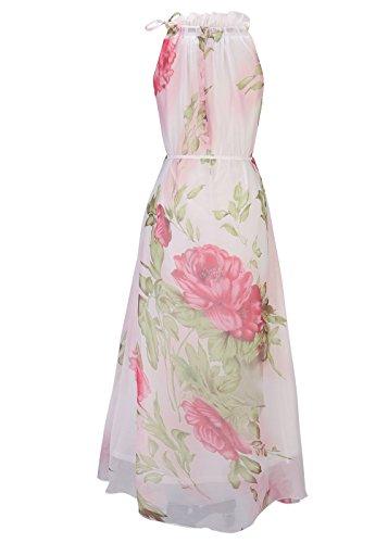 Frauen Ärmelloser Halfter Neck Vintage Floral Print Maxi Kleid Pfingstrose-weiß(O3313)