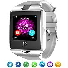 Reloj inteligente Bluetooth con cámara para Android iOS Hombres Mujeres Niños (Blanco)