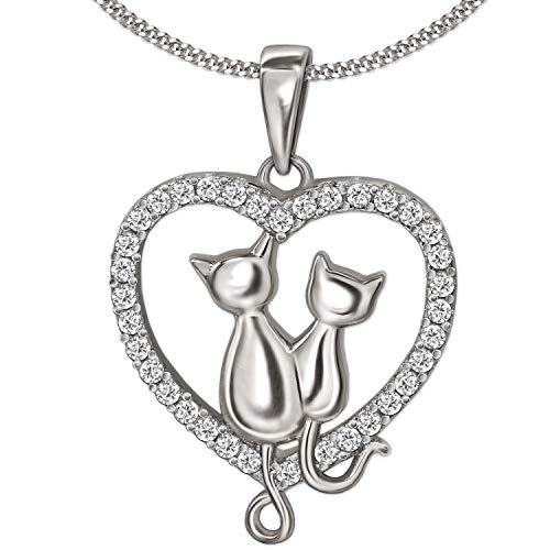 Clever gioielli set in argento con ciondolo a forma di cuore 19x 17mm con gatto come coppia e molti zirconi su bordo con catenina 45cm in argento 925rodiato