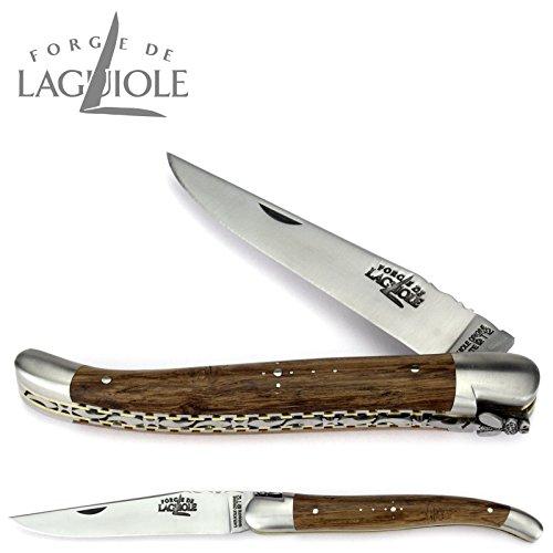 Forge de Laguiole couteau 12 cm - manche en morta - double platine laiton-inox - lame et mitres inox