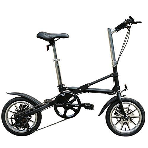 DPGPLP 14-Zoll-Faltrad - Erwachsenen-Faltrad - Schnelles Faltrad Für Erwachsene Tragbares Mini-Pedal-Fahrrad,Schwarz