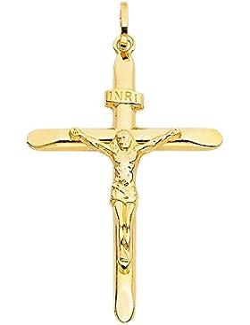 Anhänger Kreuz Mit Jesus 14 Karat 585 Gelbgold Unisex